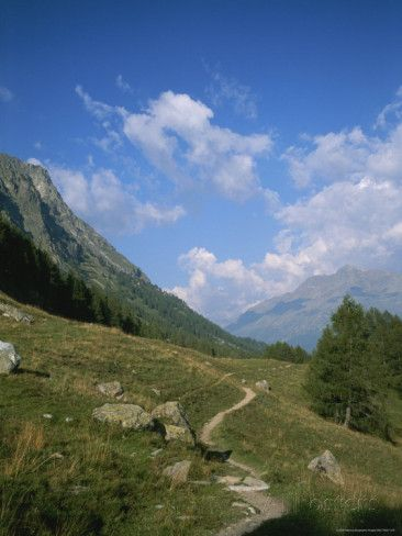 Grisons St Moritz A Hiking Trail in the Engadin Valley Near Saint Moritz