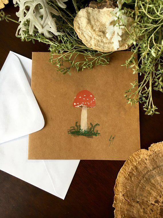 Hand Painted Mushroom Note Cards