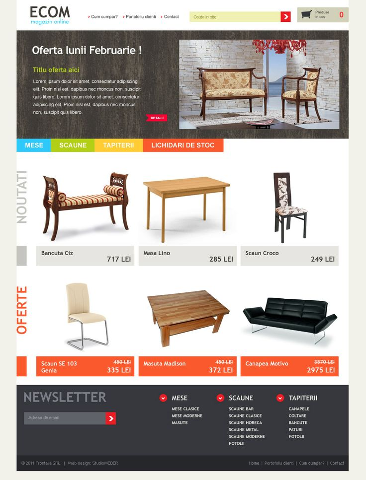 Layout proposal for a furniture shop. Colorful style with minimal product display.
