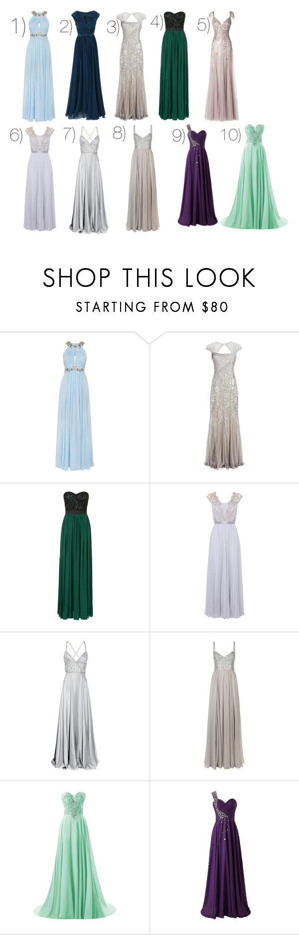 """Which one? For the Yule Ball"" by moon-crystal-wolff ❤ liked on Polyvore featuring Notte by Marchesa, Elie Saab, Adrianna Papell, Rare London, Avance, Coast, Azzaro and Jenny Packham"