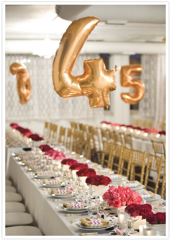 Gold balloons for table numbers are so fun!