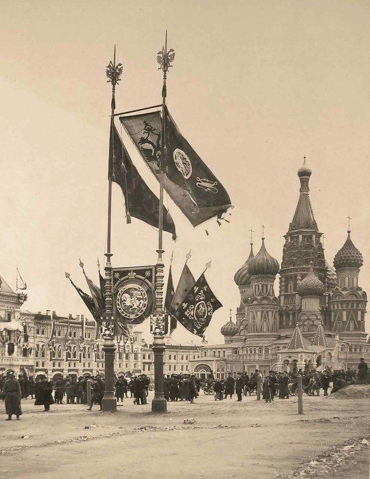 """The double headed eagle,the symbol of the Orthodox Romanovs and Orthodox banners fly proud in view of St. Basil's Cathedral in Moscow,Russia for the Coronation of Tsar Nicholas II of Russia in 1896.    """"AL"""""""
