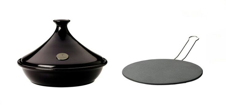 Beautiful tajine! It can be used on all types of stoves but induction ones. For those it must be used the adapter on the right.
