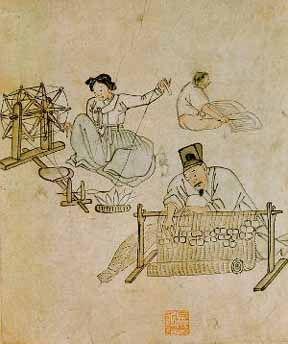 김홍도 <자리짜기> : 방 안에서 돗자리를 짜고 있는 남편과 물레를 돌려 실을 잣는 아내, 그리고 그 뒷편에 책을 펴놓고 글자를 막대기로 짚어가며 읽고 있는 떠꺼머리 아들 등 각자 의 일을 열심히 하고 있는 한 가족의 모습을 그린 그림이다