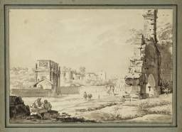 Carlo Labruzzi, 'Arch of Titus', date not known, graphite, ink and watercolour on paper.