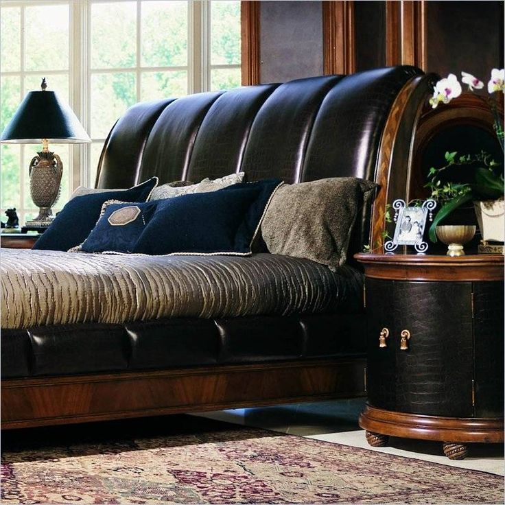 Beautiful Leather Headboard and Matching Side Table