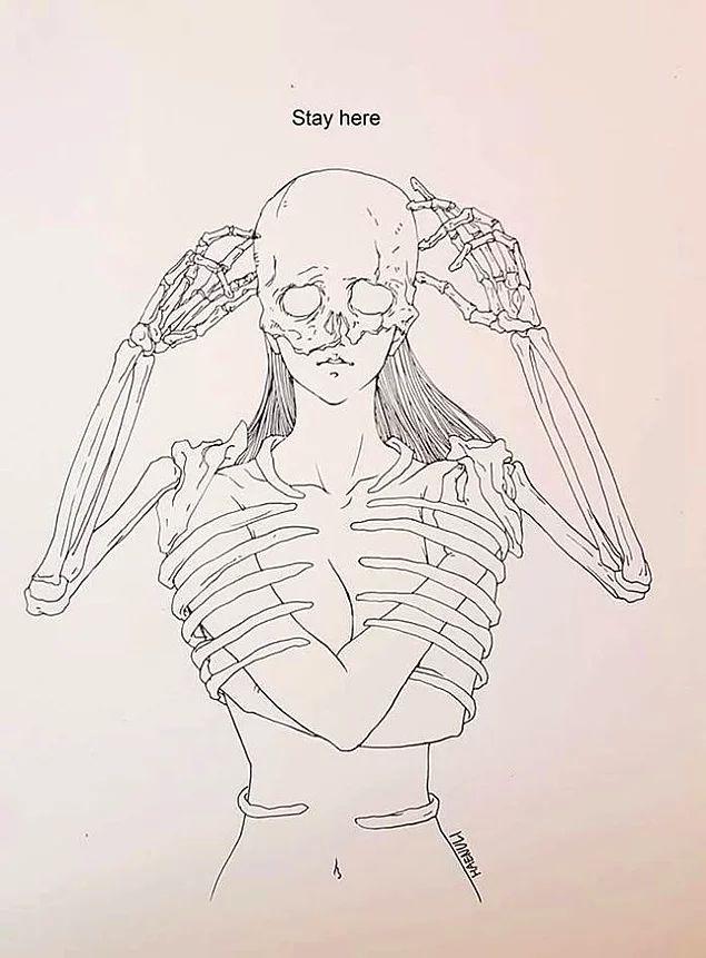 Depresyondan Kurtulmak İçin Yaratıcılığını Kullanan Kadından Aşk-Ölüm Temalı 14 Çizim