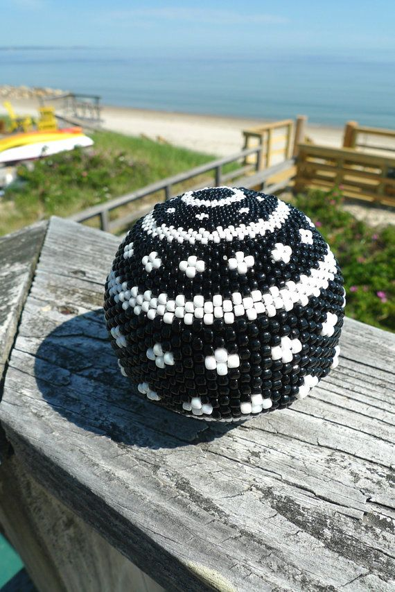 Handmade Black & White Beaded Ball Sphere Large by TheBeadedEgg