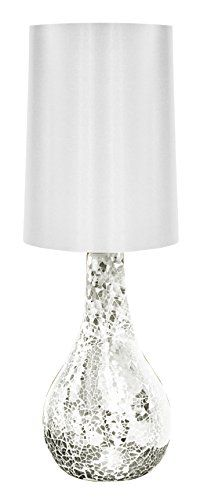 Urban Shop Mosaic Glass Lamp with Satin Shade, Silver | shopswell
