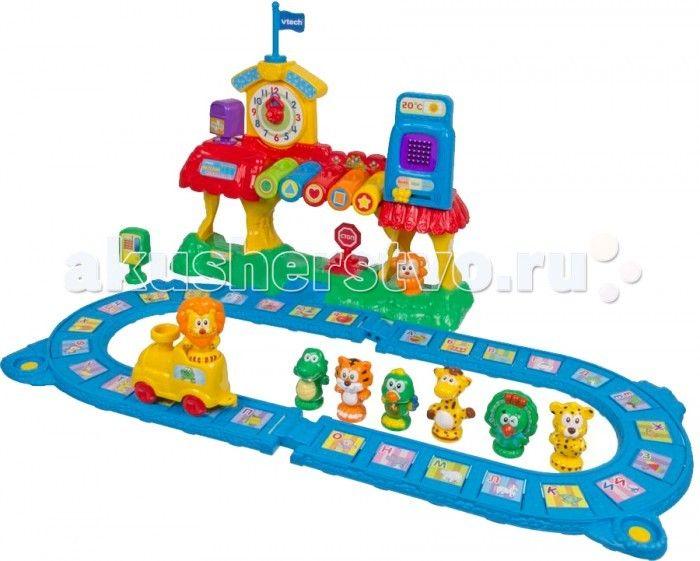 Vtech Железная дорога Обучающая 80-069626 (3)  Интерактивная игрушка  Vtech ОБУЧАЮЩАЯ ЖЕЛЕЗНАЯ ДОРОГА  с 13 дополнительными фигурками, циферблатом, LED-дисплеем обладает максимумом функций и обучающих режимов.  В наборе: 33 буквы алфавита, 12 цифр, цвета и геометрические фигуры.  С помощью веселой железной дороги Ваш малыш научится понимать время по часам, выучит алфавит, запомнит названия животных и звуки, которые они издают.   Дисплей познакомит малыша с написанием букв и цифр, а…
