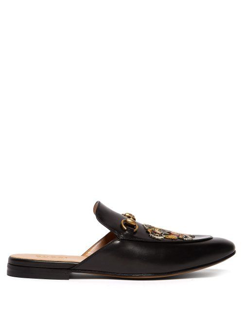 0c9fe920a64 GUCCI Kings tiger-appliqué backless leather loafers.  gucci  shoes ...