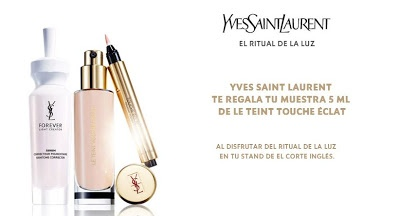 Yves Saint Laurent regala muestras gratis de su base de maquillaje Le Teint Touche Éclat. Promoción válida hasta el 31/03/2013 o agotar existencias (6.500 unidades).  #muestrasgratis  #cosmeticos #maquillaje #yvessaintlaurent #leteinttoucheeclat #baratuni #promociones