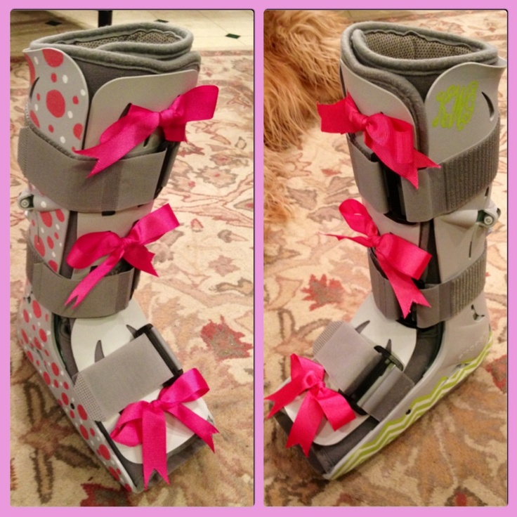 Decorated walking air cast/boot with painted polka dots, monogram, chevron & grosgrain bows.