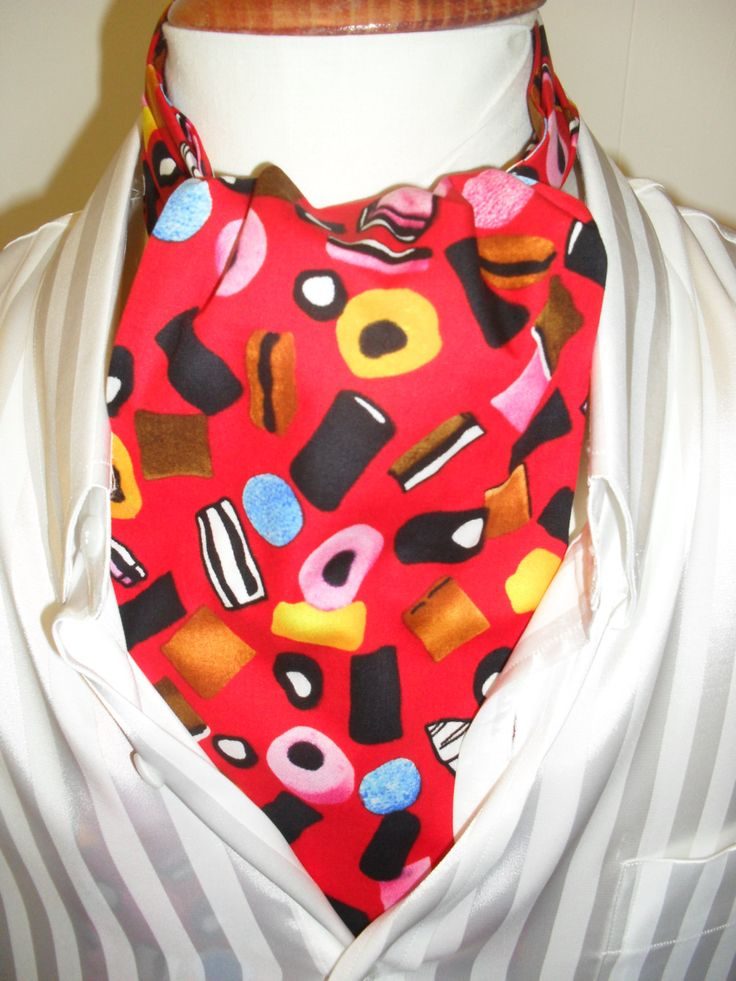 Red Cravat. Liquorice Allsorts cravat. by LDCcreations on Etsy