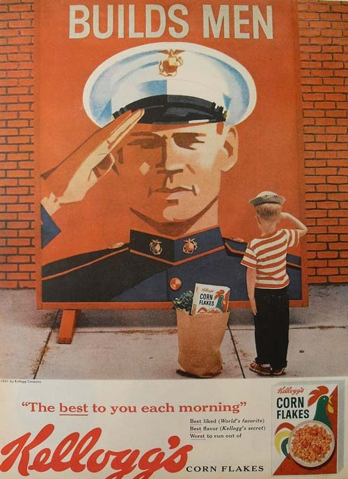 """Kellogg's Corn Flakes Ad 1961. A boy saluting a poster of a mariner. """"Builds Men"""" the poster says, advertising Kellogg's Corn Flakes... if only he knew the contradiction..."""