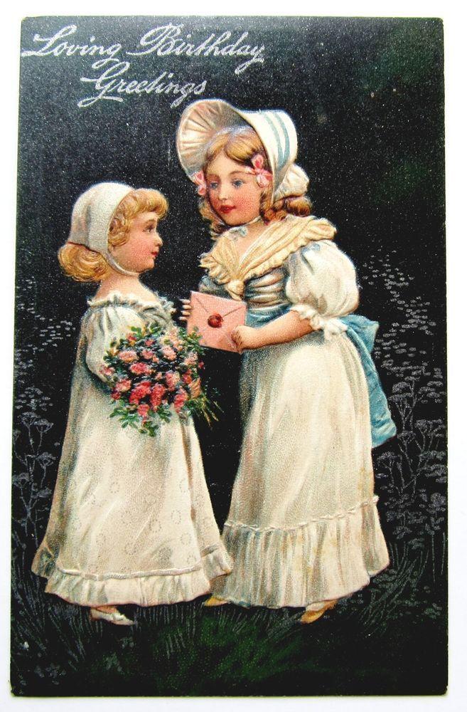 PFB Pretty GIRLS in White Bring Loving BIRTHDAY Wishes Postcard EMB Silver