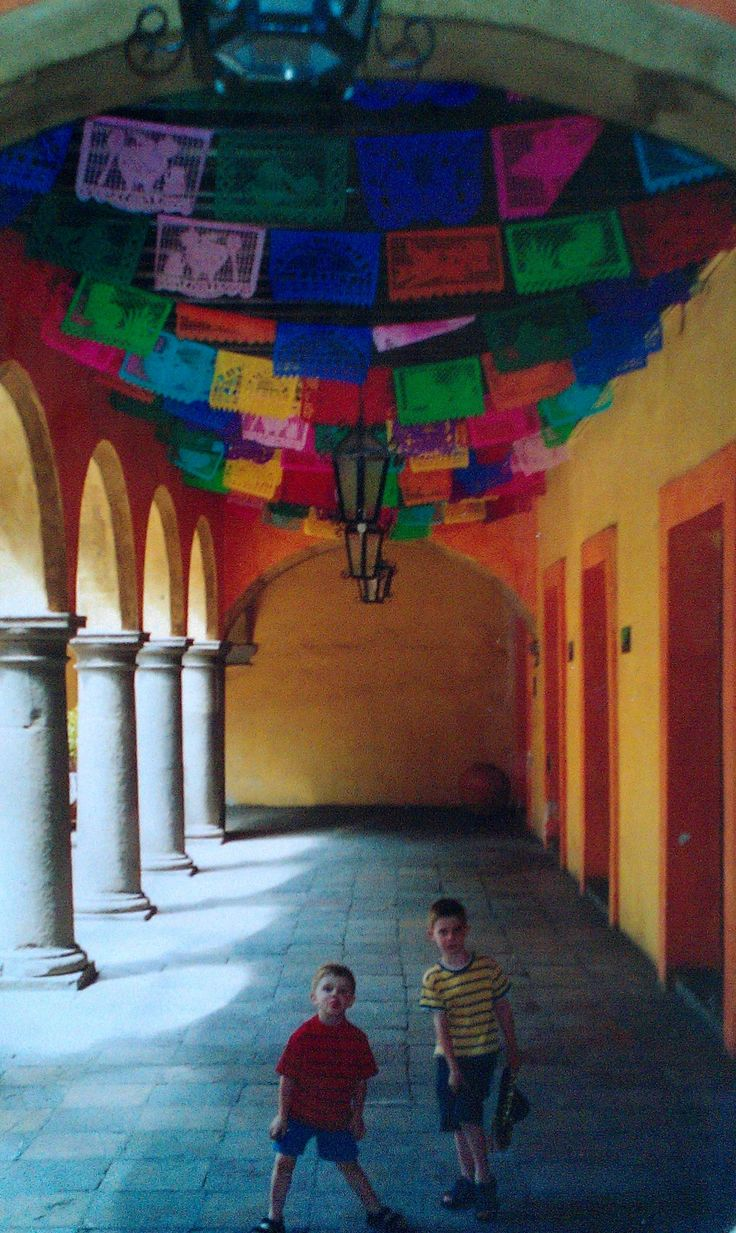 Puebla, Mexico.  The colorful, hand cut banners.