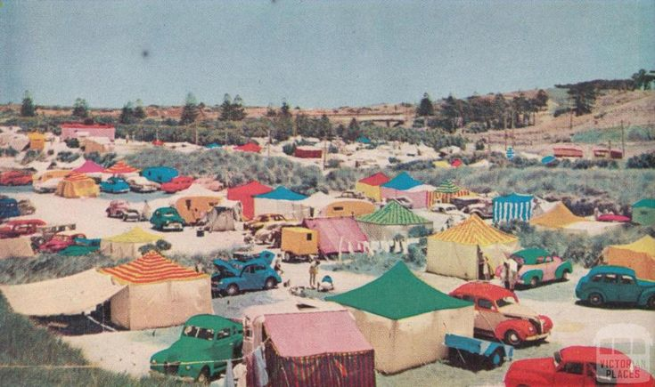 Seaside camping, Warrnambool, c1960