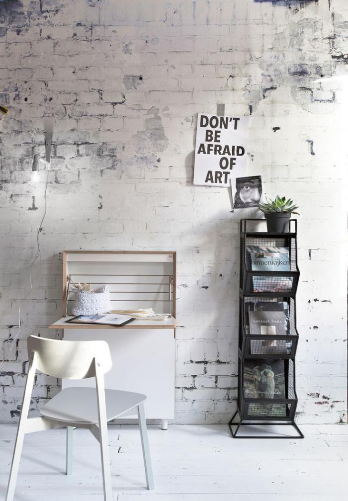 papier peint blanc, papier peint imitation briques