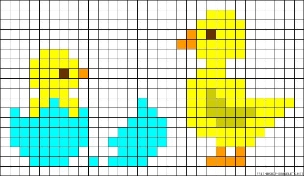 Chicks Easter perler bead pattern