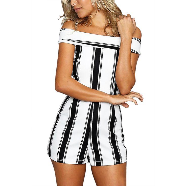 Charlee Cooper Black And White Stripe Slash Neck Strapless Playsuit