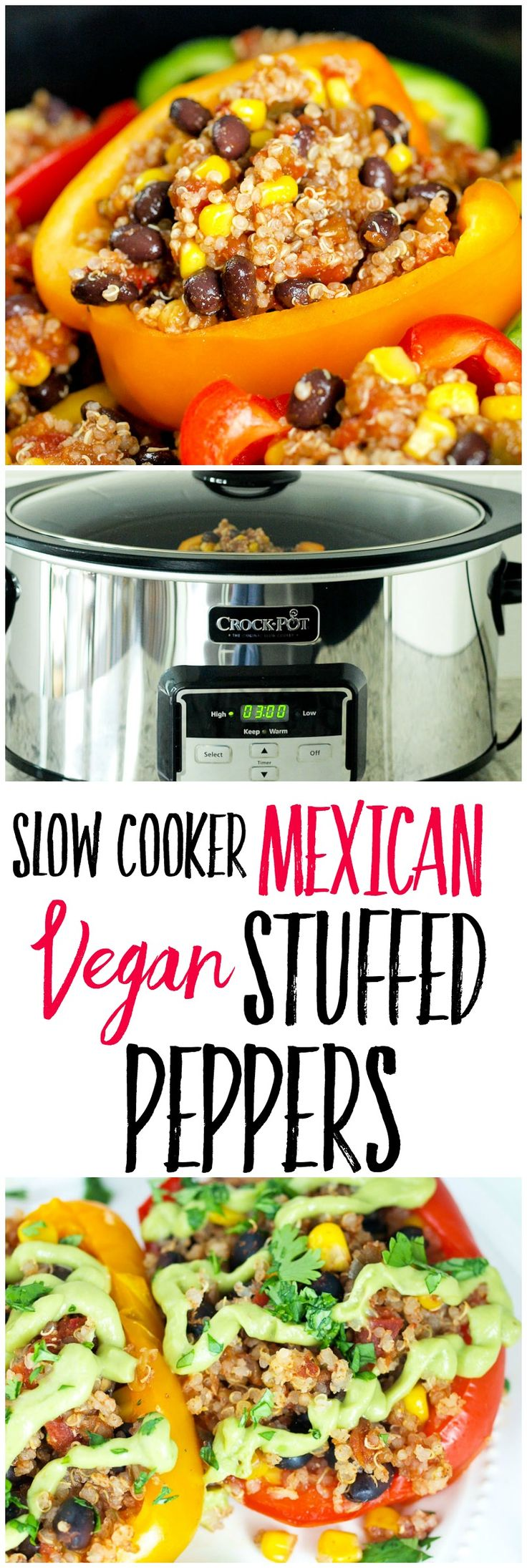 This slow cooker Vegan Mexican Stuffed Peppers recipe makes a healthy weeknight dinner idea that your whole family will love! Use your Crock-Pot® to makes this vegan, gluten-free, DELICIOUS dinner! (Vegan Mexican Recipes)