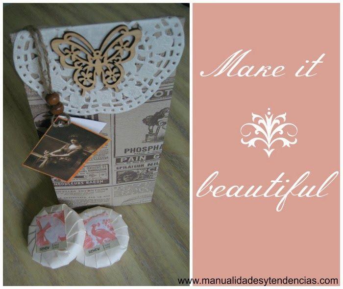 DIY envoltorio para regalo vintage / Vintage gift packaging / emballage de cadeau vintage www.manualidadesytendencias.com #Christmascrafts #manualidades #giftwrapping #packaging #Navidad