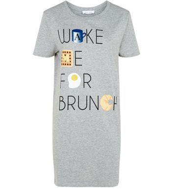 Grey Wake Me For Brunch Night Shirt