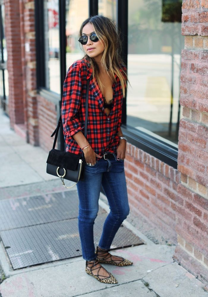 Blogger Style l SincerelyJules: plaid shirt x blue skinny jeans x leopard printed lace-up flats x chloé faye bag #bluedenim #laceupballerina