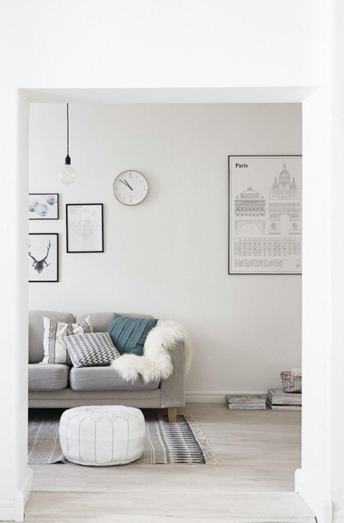 Scandinavian living room in soft hues