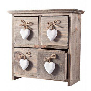 Gisela Graham Heart Handle Wooden Drawers - Gisela Graham from Mollie & Fred UK