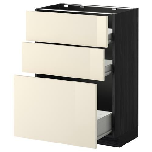 METOD Ντουλάπι βάσης 3προσόψεις/2χαμ/1μεσαίο συρτάρι - IKEA