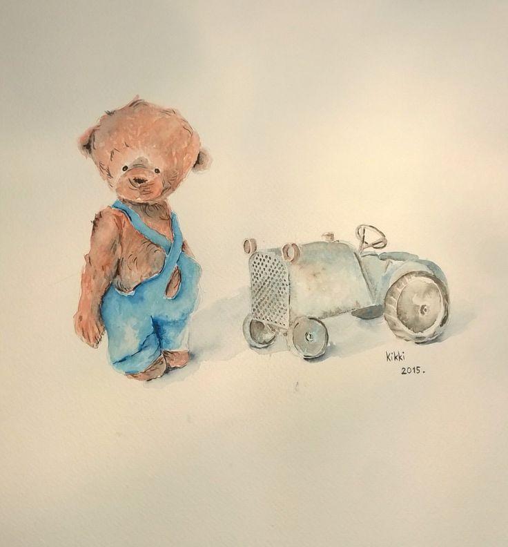 Régebben festettem mackókat, most Pocak szólt, hogy Ő is bemutatná traktorját, melyre annyira büszke. Mit tehettem mást, megfestettem, hadd szerepeljen.:)