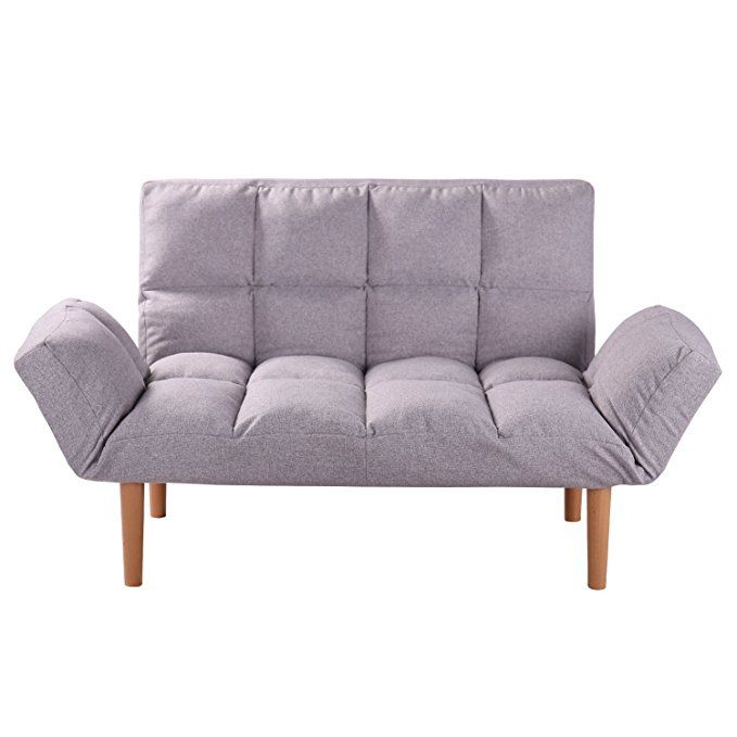 Qvb Convertible Loveseat Folding Couch Modern Grey Small Foldable Futon Sofabed With Solid Wood Legs For Kids And Apartmen Modern Couch Love Seat Folding Couch
