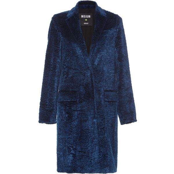 MSGM Royal Faux Astrakhan Coat (27,470 HNL) ❤ liked on Polyvore featuring outerwear, coats, blue coat, long sleeve coat, msgm coat, faux coat and msgm