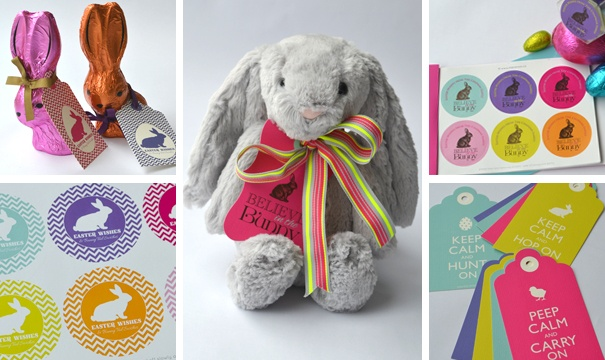 Beautiful bright Easter tags and stickers: www.macaroon.co