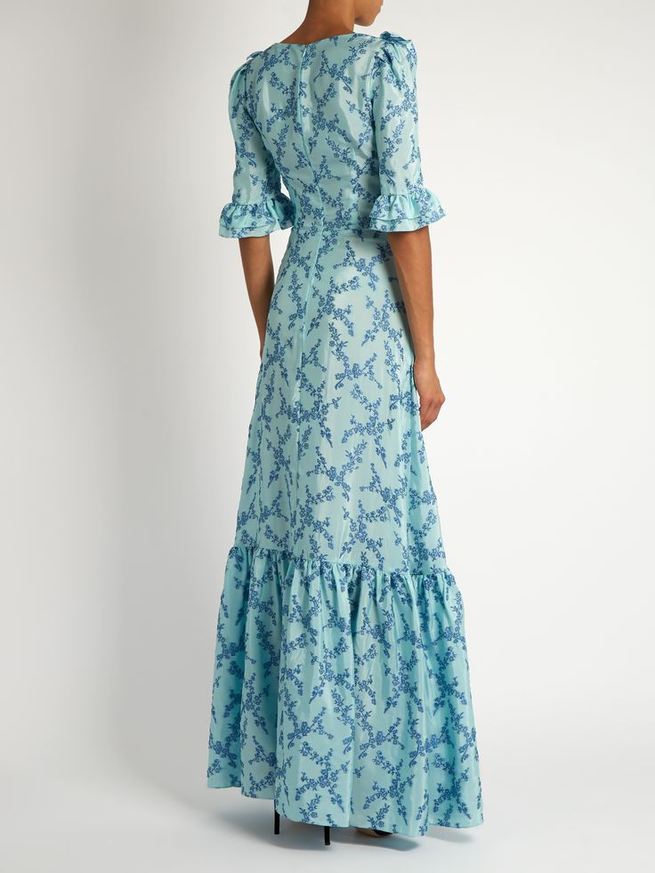 The Vampire's Wife  Gloria ruffle-trimmed floral fil coupé gown  in blue Matches Fashion .com