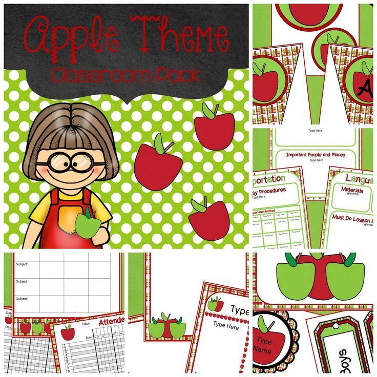 Apple Classroom Decor : Editable apple theme classroom decor hundreds of pages