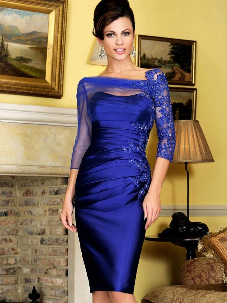 Mother of the Bride Dresses With Sleeves 2014 Plus Size Mermaid Tank Three Quarter Sexy Appliques Knee-Length Blue Taffeta Dress