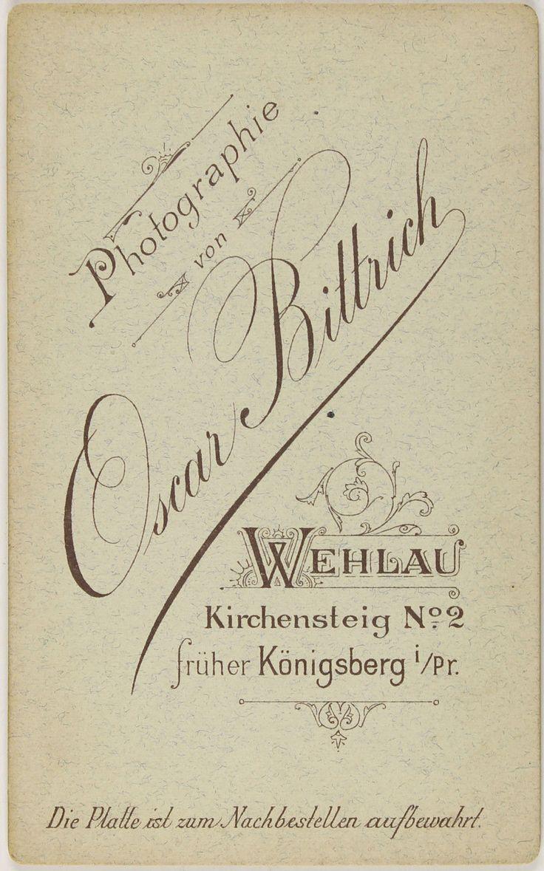 Visitenkarte Oscar Bittrich, Photograph in Königsberg und Wehlau       1890