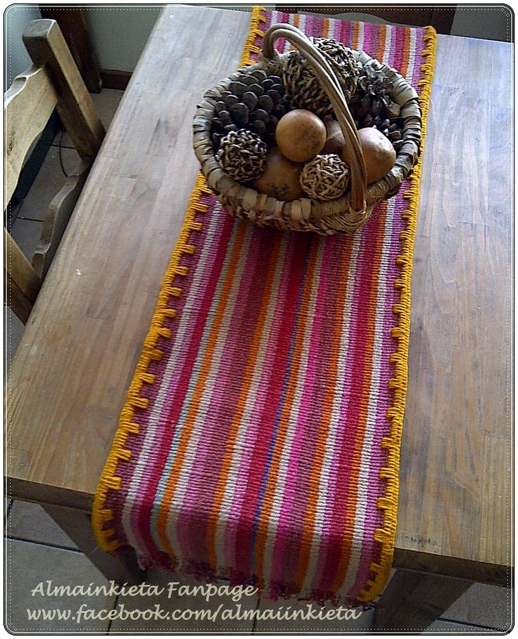VENDIDO-art 020-Camino de Aguayo puyo $299. Tejido en telar con lana de oveja pura y bordado al crochet !