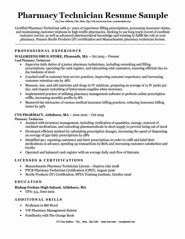 Pharmacy Tech Resume Samples Luxury Pharmacy Technician Resume