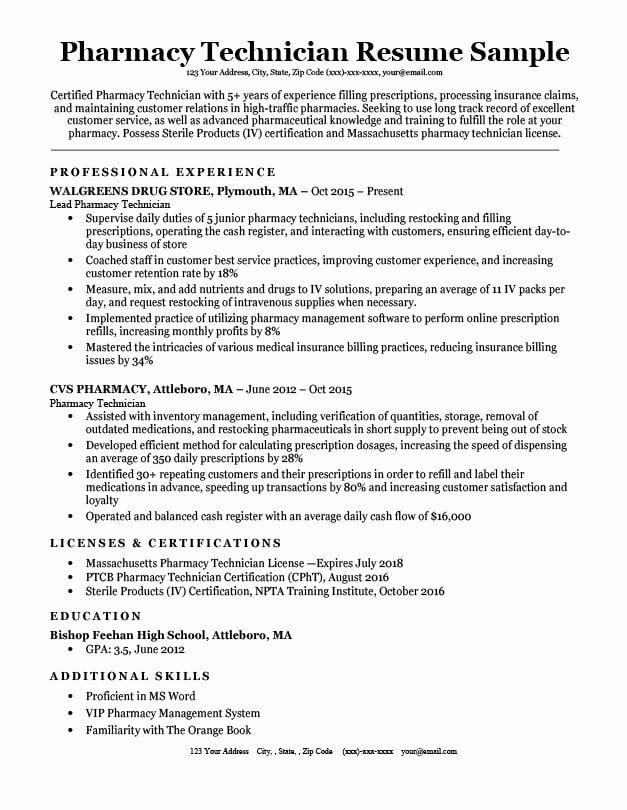 Pharmacy Tech Resume Samples Luxury Pharmacy Technician Resume Sample Tips Pharmacy Tech Pharmacy Technician Resume Skills