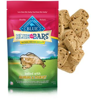 BLUE Mini Bars Banana & Yogurt natural dog biscuits,the dogs luv these