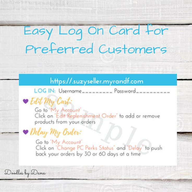 Rodan and Fields - Business Card Sized - Easy Log on Info for Preferred Customers - Instructions for Managing Account by DoodlesbyDana on Etsy
