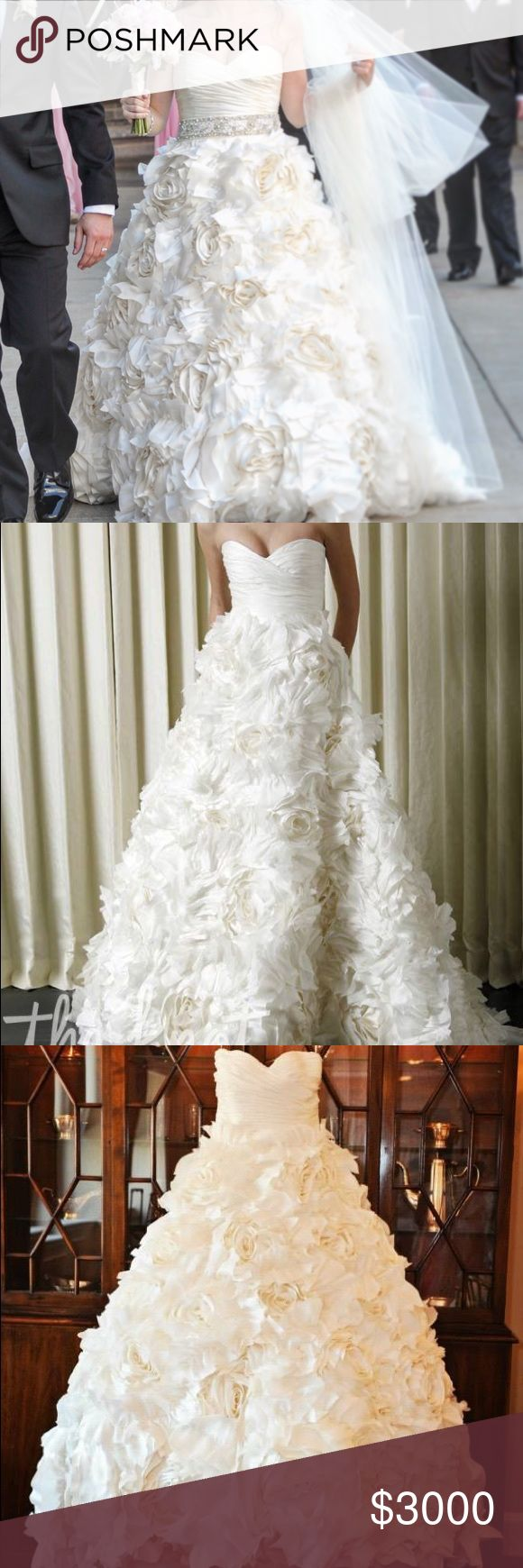 """Monique Lhuillier """"Sunday Rose"""" Wedding Dress Gently used, beautiful designer gown. Was professionally washed by Kleinfeld Bridal after wedding. Veil INCLUDED!!! (Belt not included.) Monique Lhuillier Dresses Wedding"""