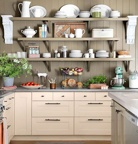 Small kitchen organizing ideas wooden shelves click for Off the shelf kitchen units
