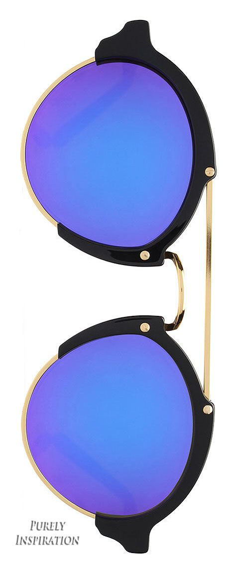 Illesteva Milan II Round Iridescent Sunglasses, Black/Berry | Purely Inspiration