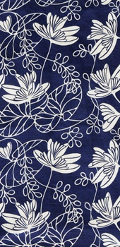 """Waterlily"" Indigo Fabric pattern design by Fiona Howard"