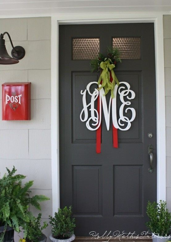 Our family monogram instead of a traditional wreath for the front door.  Love it.